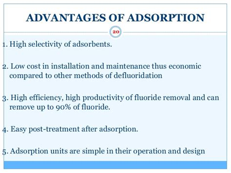 advantages of swing defluoridation by bioadsorbents