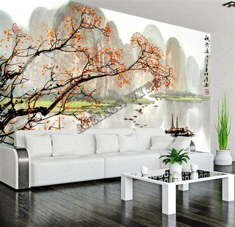 Papier Peint Paysage Mural by Tapisserie Num 233 Rique Sur Mesure Style Chinois Paysage Automne