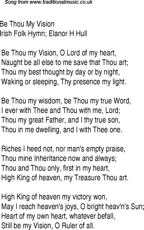 my lyrics be thou my vision christian gospel song lyrics and chords