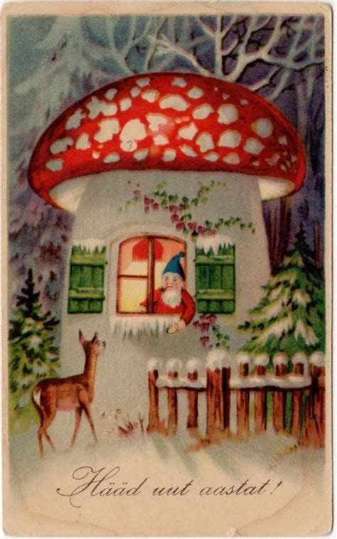 postcard   gnome   mushroom house  deer retro scandinavian christmas vintage