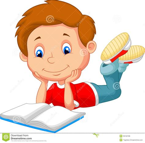 picture illustration cute boy cartoon reading book stock vector image 39150186