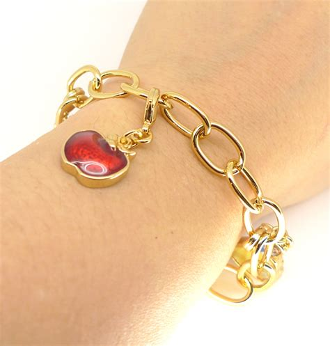 disney couture snow white gold plated bracelet with charms