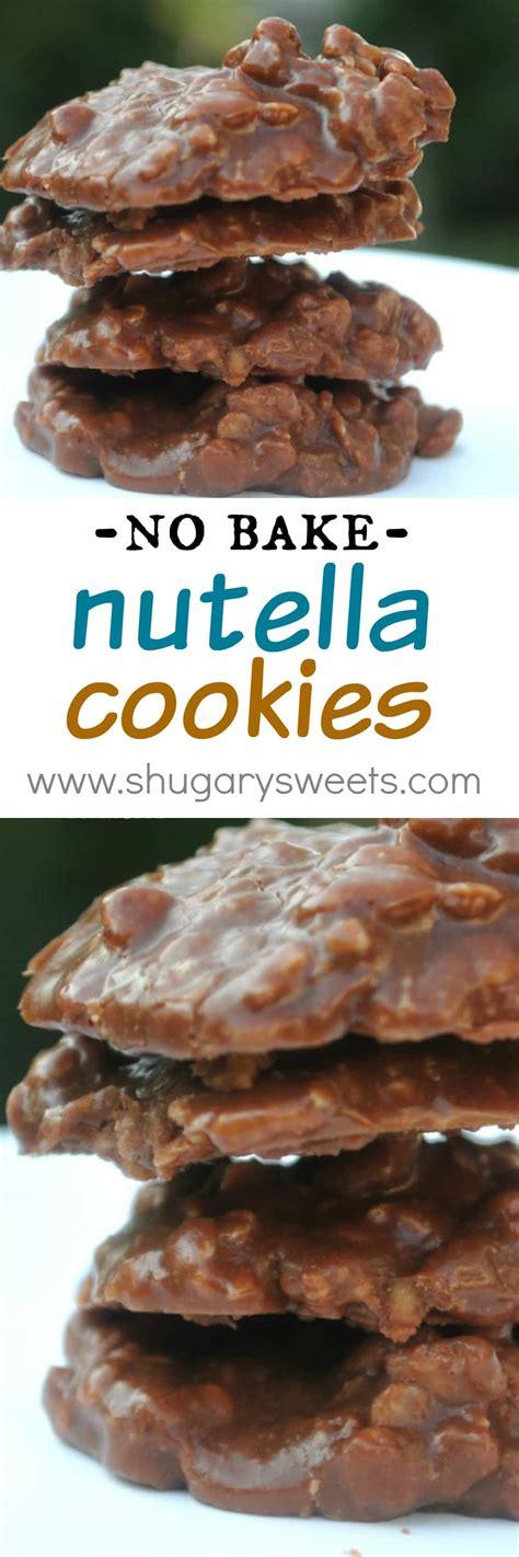 nutella no bake cookies shugary sweets