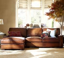 pottery barn leather sofa turner leather 2 piece sectional with chaise traditional