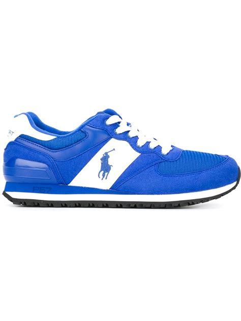 ralph athletic shoes lyst polo ralph logo running sneakers in blue for