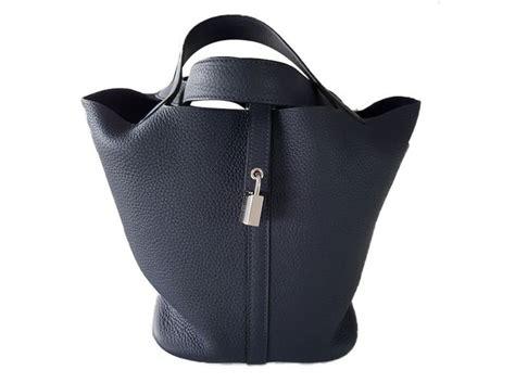 Hermes Moona 1908 1 herm 232 s picotin handbags leather navy blue ref 47859 joli closet