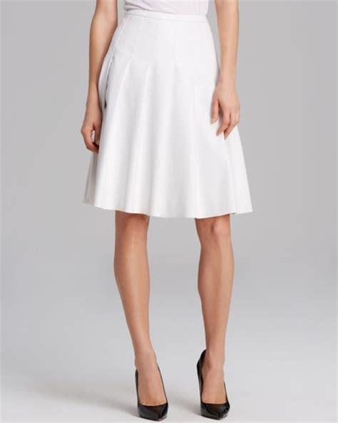 calvin klein faux leather box pleat skirt in white lyst
