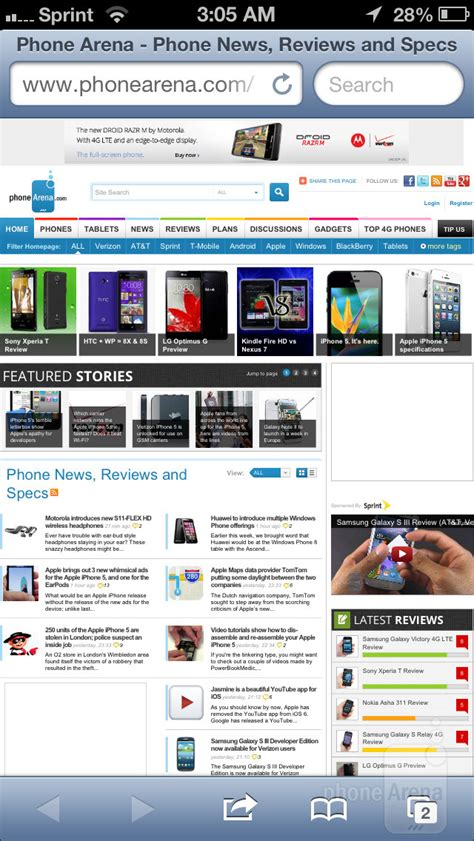 Web Browser comparison: iPhone 5 vs Galaxy S III vs One X