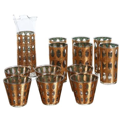 barware set vintage mid century culver pisa barware cocktail set at