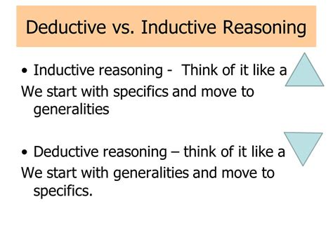 deductive pattern paragraph exles a closer look at inductive vs deductive reasoning ppt