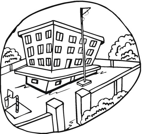 Free School And Education Coloring Pages Coloring Page Of A School
