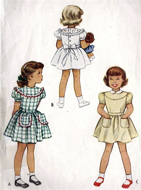 vintage pattern girl 1940s girls dress vintage sewing pattern peter pan collar