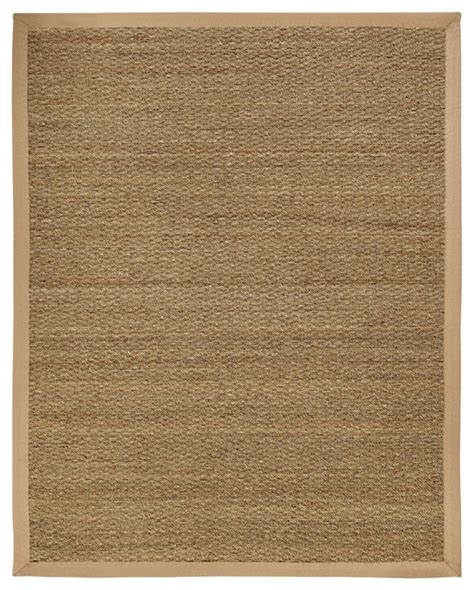 Beachy Area Rugs Fiber Seagrass 9 X12 Rectangle Beige Area Rug Style Area Rugs By Rugpal
