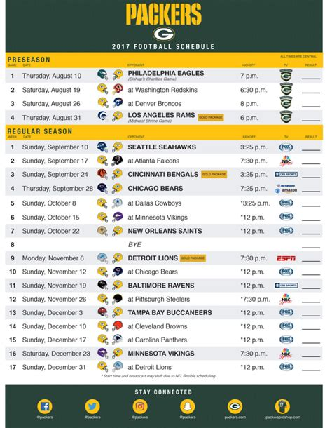 printable packers schedule green bay packers 2017 season schedule autos post