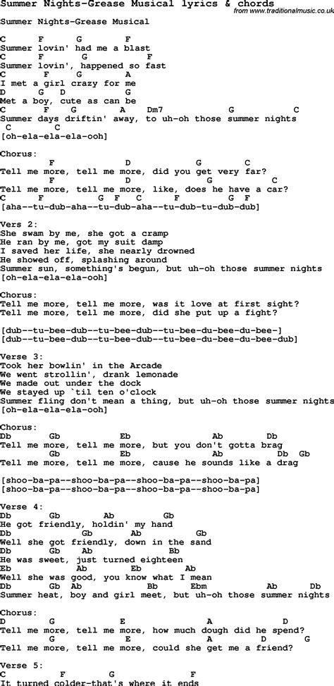 testo grease song lyrics for summer nights grease musical with chords