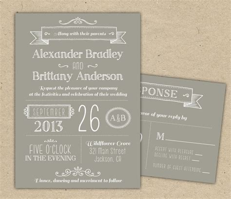 Wedding Invitation Modern Invitation Template Diy By Westandpine Diy Invitation Templates