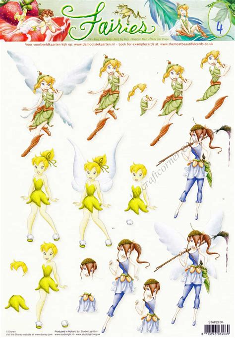 Disney Decoupage - disney tinkerbell fairies 4 3d decoupage sheet