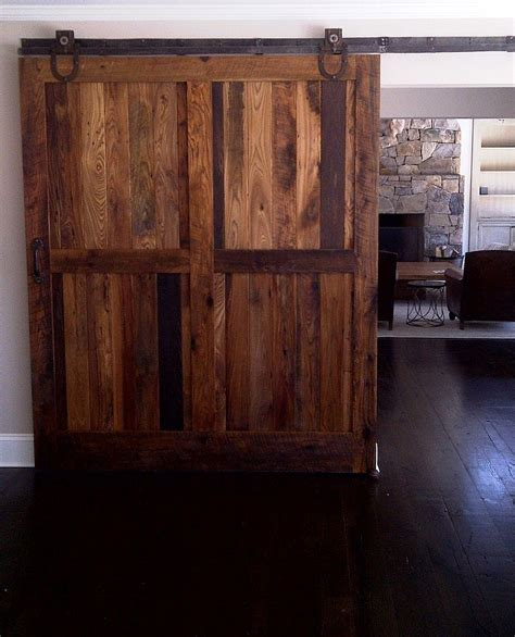 Barn Doors Sliding Sliding Barn Doors Made From Reclaimed Chestnut Lumber For Living Space Decoist