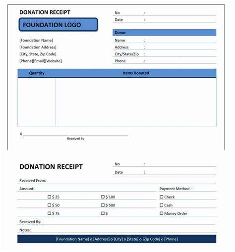 contribution receipt template donation receipt