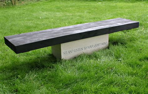 stone and wood bench garden bench