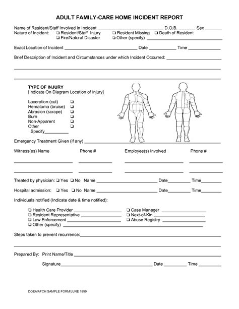 Daycare Accident Incident Report Form