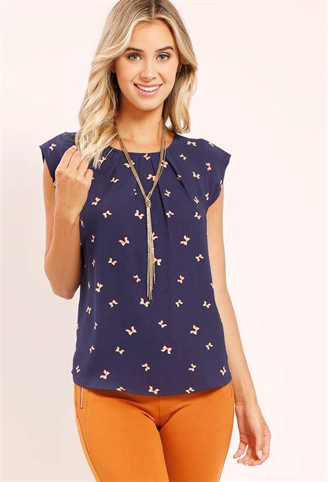 Ribbon Sweety Sweater Blouse Atasan Jaket ribbon printed top shop blouse shirts at papaya clothing