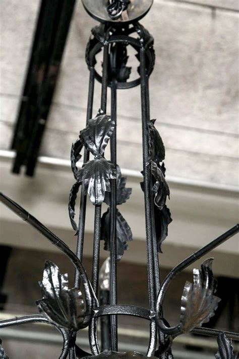 Black Wrought Iron Chandelier Black Wrought Iron Leaf Chandelier 1930s For Sale At 1stdibs