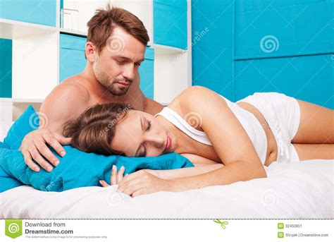 fun in bed young couple having fun stock image image 32450851