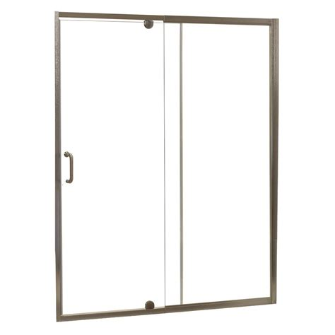 Frameless Pivot Glass Shower Doors Foremost Cove 48 In W X 69 In H Frameless Pivot Shower Door And Fixed Panel In Brushed Nickel