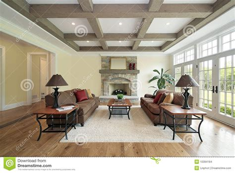 Beam Decoration Family Room With Wood Ceiling Beams Stock Photo Image