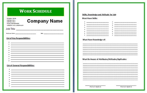 schedule of work template 8 work schedule template authorization letter