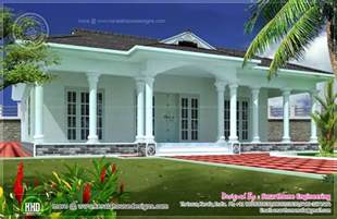 One Floor House by 1600 Sq Ft Single Story 3 Bed Room Villa Home Kerala Plans