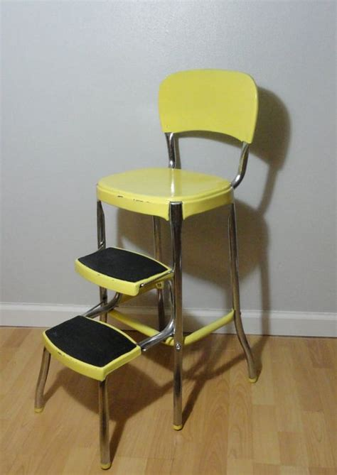 vintage step stool stool chair ladder yellow step
