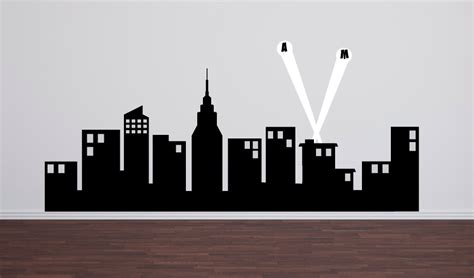New York Wall Decal Sticker super hero city skyline childrens wall decals boy bedroom