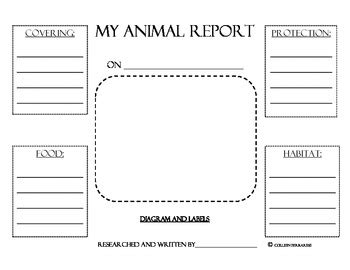 printable animal research template animal research report graphic organizers by colleen
