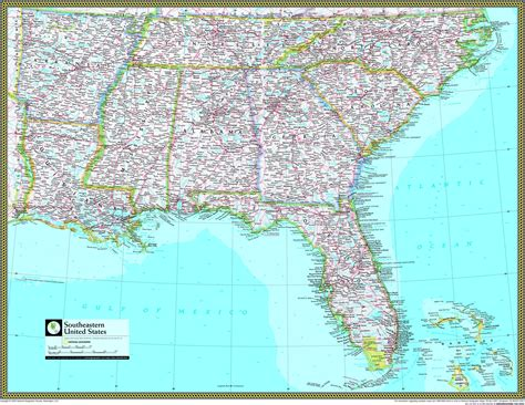 united states of america usa large wall map poster southeastern united states atlas wall map maps