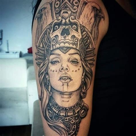 aztec woman tattoo amazing aztec with crown design photos and