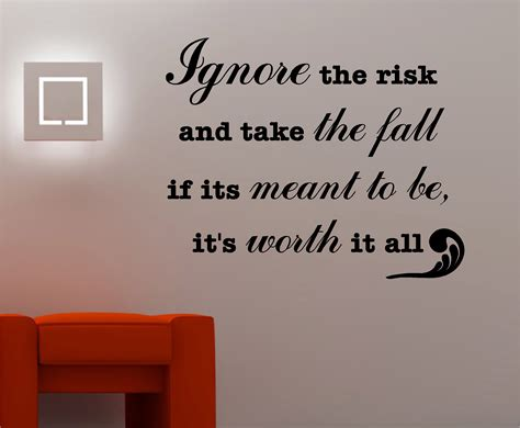 inspirational quotes for bedroom walls ignore the risk inspirational wall art quote sticker vinyl