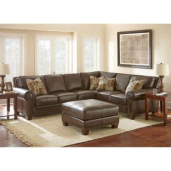 gavin leather sectional gavin top grain leather sectional and ottoman