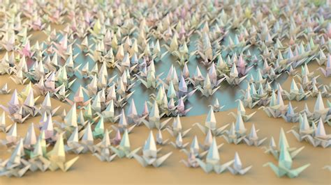 Origami 1000 Cranes - wallpaper 1000 origami cranes by hoschie on deviantart