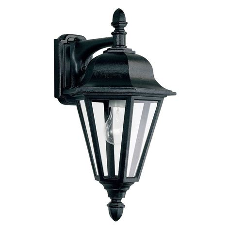 Seagull Outdoor Lighting Sea Gull Lighting Brentwood 1 Light Outdoor Black Wall Mount Fixture 8825 12 The Home Depot