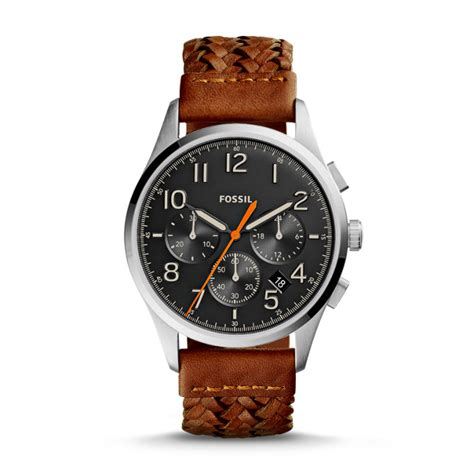 vintage 54 chronograph brown leather fossil