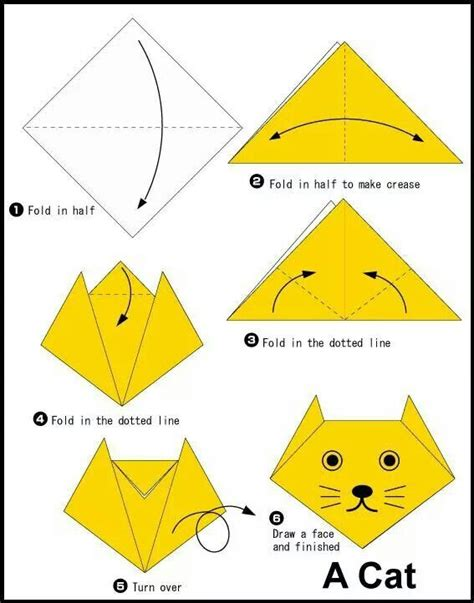 tutorial origami gatto cat face paper crafting pinterest cats cat face and