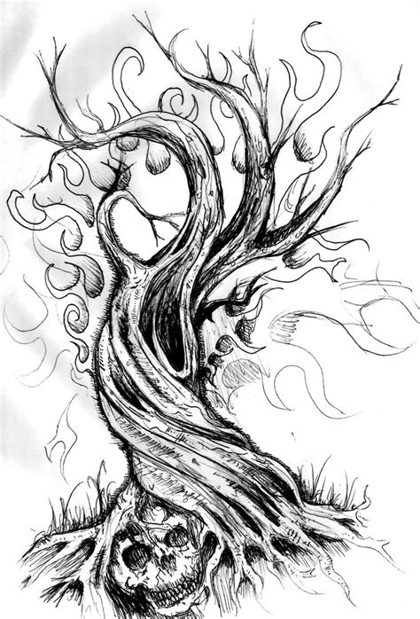 twisted tree tattoo designs dead tree twisted pencil and in color dead