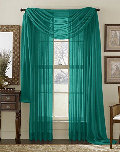 hlc me grey teal sheer window scarf valance fully