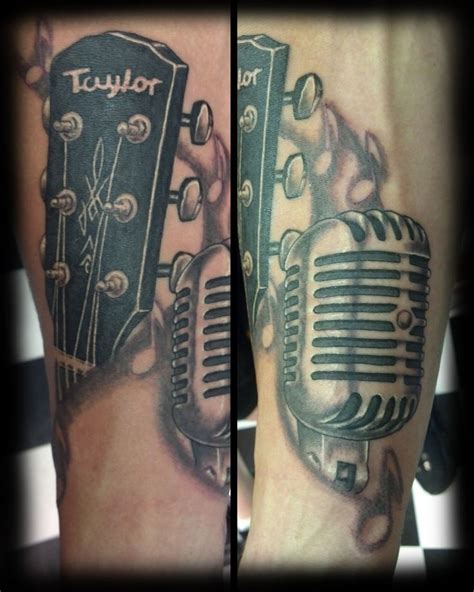 tattoo microphone and guitar microphone and guitar tattoos pinterest