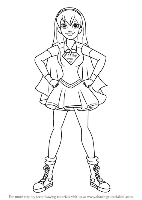 coloring page girl superhero step by step how to draw supergirl from dc super hero