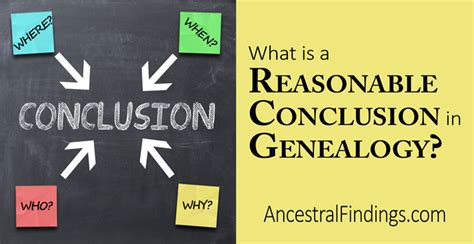 what is in a what is a reasonable conclusion in genealogy ancestralfindings