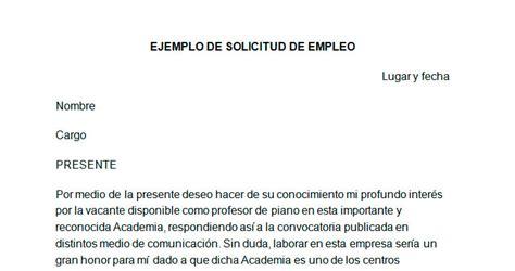 carta de empleo ejemplos solicitud ejemplo de solicitud de empleo modelo de solicitud de empleo