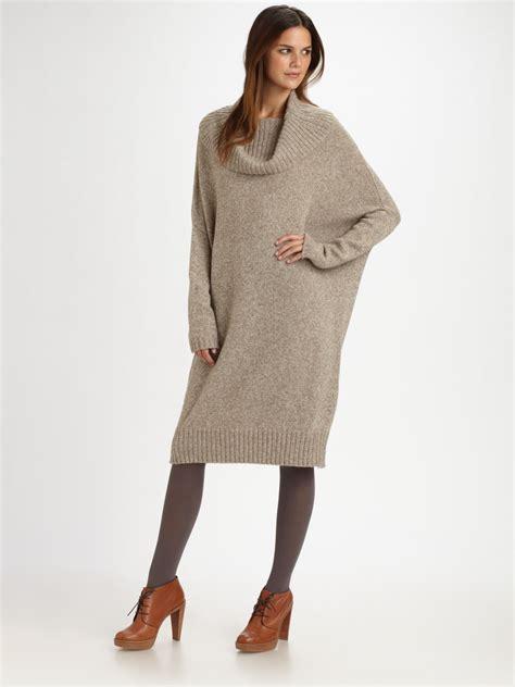 Sweater Dresses by Weekend By Maxmara Oversized Tunic Sweater Dress In Beige